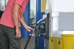 Gas pump. Close-up of a men hand refilling the car with a gas pump royalty free stock photography