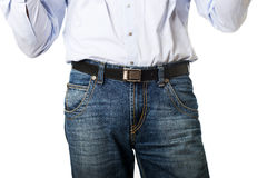 Close up on men in jeans trousers Stock Photo