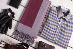 Close-up of men's clothing. Close-up of men's clothing on a wooden background Royalty Free Stock Photography