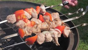 Closeup of Male Hands Turn over the Skewers of Meat with Vegetables. Close-up, men`s hands turn over and swap skewers for meat and vegetables. They cook in stock footage