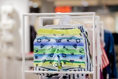 Close up Men`s swimming trunks in the store.  royalty free stock image