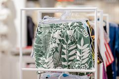 Close up Men`s swimming trunks in the store.  royalty free stock photography