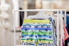 Close up Men`s swimming trunks in the store.  stock photo