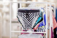 Close up Men`s swimming trunks in the store.  royalty free stock photo