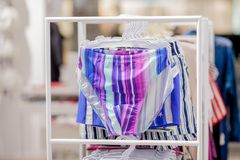 Close up Men`s swimming trunks in the store.  stock image