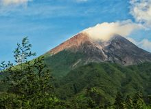 Close up merapi volcano taken in Yogyakarta, Indonesia during day time royalty free stock image
