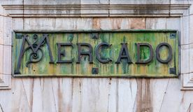Close-up of Mercado de Abastos poster, in Spanish. royalty free stock photos