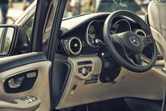Close up on Mercedes cockpit and wheel Royalty Free Stock Photography