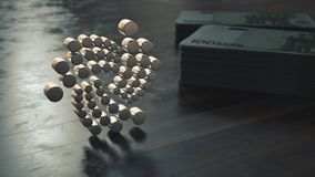 Close up metálico do símbolo do cryptocurrency do Iota ilustra??o 3D imagens de stock royalty free