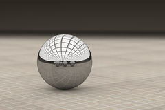 Close-up of metal ball reflecting different balls Royalty Free Stock Photo