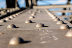 Close up on a metal bridge. On a sunny day Stock Photo