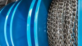 Close up of metal chains wrapped on coil Stock Photography