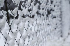 Close-up of metal fence covered with frozen snow Stock Photo