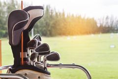 Close up metal golf clubs in bag at golf course Stock Photo