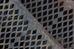 Close-Up of Metal Grating. With diamond shaped holes stock images
