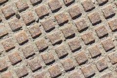 Close up metal grid pattern of manhole Royalty Free Stock Image
