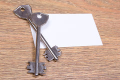Close up of metal keys and visiting card Stock Photography