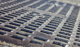 Close up of the metal manhole cover Stock Photo