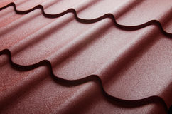 Close up of metal roof tile. The close up of metal roof tile royalty free stock photo