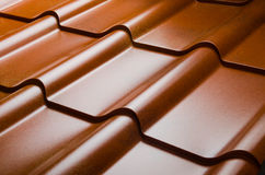 Close up of metal roof tile Royalty Free Stock Photos