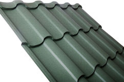 Close up of metal roof tile. The close up of metal roof tile royalty free stock photography