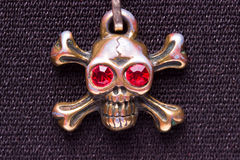 Close up of metal skull with red eyes Royalty Free Stock Photography