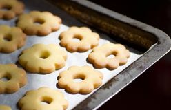 Close up of metallic  baking tin with canestrelli biscuits Stock Photos