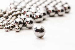 Close up Metallic bearing balls on metal Royalty Free Stock Photo