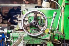 A close-up of a metallic lathe royalty free stock image