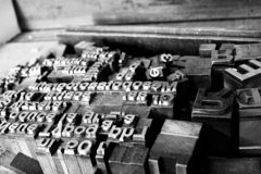 Close-up of metallic letter and type printing blocks royalty free stock photo