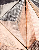 Close up metallic three dimensional shaped structure stock photos
