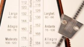 Metronome close up. Close up of a metronome clicking away at 120 beat per minute stock footage