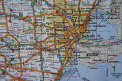 Close Up of Metropolitan Detroit Area on a Map royalty free stock photo