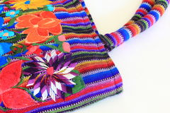 Close up of Mexican Floral Embroidered handbag. Close up of Mexican floral embroidered ladies handbag Royalty Free Stock Photos