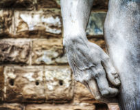 Close up of Michelangelo's David hand in hdr Stock Image