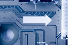 Close-up of micro circuit, resistors and chip of a Royalty Free Stock Photo