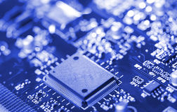 Close-up microchip on circuit board Stock Photography