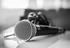 Close up of microphone on black and white tone Stock Photo
