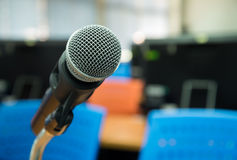Close up of microphone. Close up of microphone in classroom or conference room Stock Photography