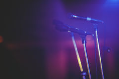 Close up of microphone in concert hall Royalty Free Stock Photography