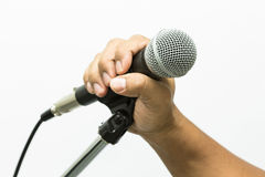 Close up of microphone in concert hall or conference room, Close up old microphone in conference room , Studio equipment.  Royalty Free Stock Image