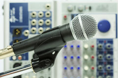 Close up of microphone in concert hall or conference room, Close up old microphone in conference room , Studio equipment Royalty Free Stock Photo