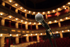 Close up of microphone in concert hall Stock Photography