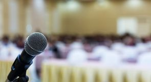 Close up. Microphone in conference hall. Business meeting. Microphone Training. Conference room. stock image