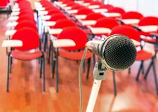 Close up of microphone in conference room Royalty Free Stock Photos