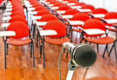 Close up of microphone in conference room Royalty Free Stock Image