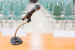 Close-up of Microphone in Empty Meeting Announcement Room Royalty Free Stock Images