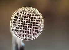 Close up of microphone in karaoke room or conference room Royalty Free Stock Image