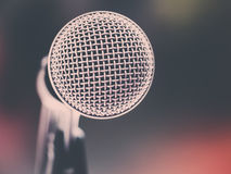 Close up of microphone in karaoke room or conference room Royalty Free Stock Photography
