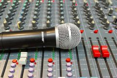 Close up Microphone on Mixing Console of a big HiFi system royalty free stock image